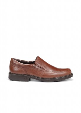 Zapato mocasín elásticos laterales marrón claro Fluchos
