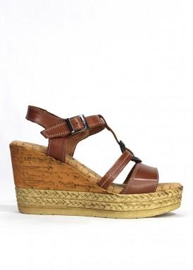 Sandalia cuero cuña alta y plataforma. Mipascu