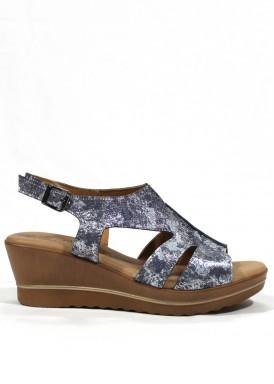 Sandalia cuña media azul y plata. Mipascu