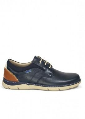 Zapato deportivo  de piel ,estilo casual, piso ligero. Color marino. HIMALAYA