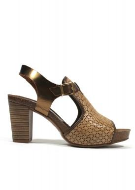 Sandalia de piel  de tacón ancho. Color beis-bronce. ANA ROMÁN