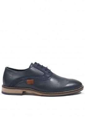 Zapato cordón vestir estilo casual, de  piel y nobuck grabado, azul marino. Nokap