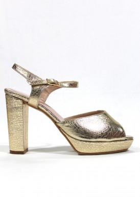 Sandalia de fiesta de tacón ancho y plataforma. Piel color dorado. ANA ROMÁN