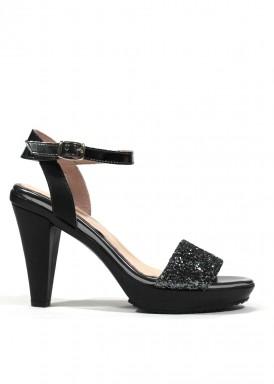 Sandalia de fiesta de piel y glitter en color negro-plata. ANA ROMÁN