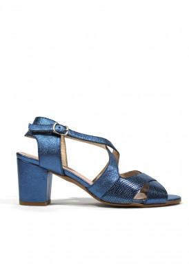 Sandalia de piel suave,  tacón 5 cm. Color AZUL METALIZADO. FAP