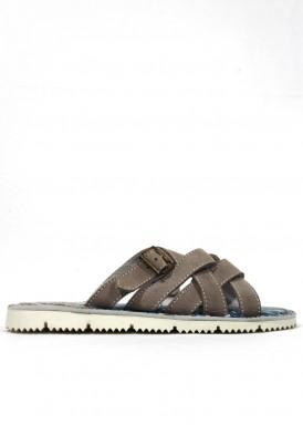 Sandalia hombre descalza serraje gris. Trisoles