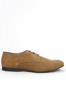 Zapato serraje taupe vestir con cordón. Tagore