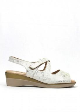 Sandalia blanco-oro, ancho especial. Piel suave. FAP