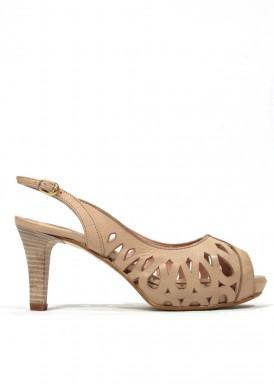 Zapato abierto picado rosa empolvado. Bosettini