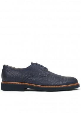 Zapato cordón piel grabada azul marino. Tagore