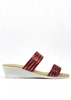 Sandalia descalza glitter rojo. Fap