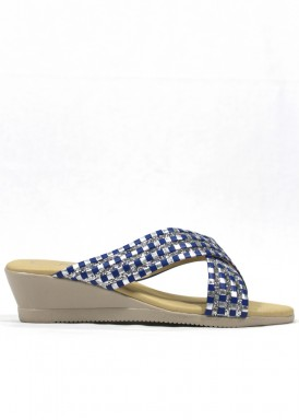 Sandalia descalza glitter azul y plata. Fap