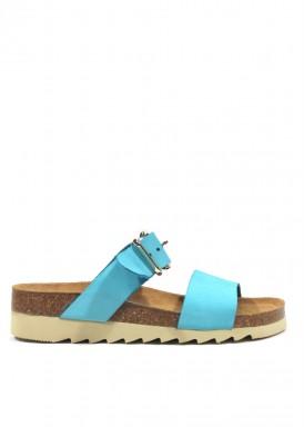 Sandalia descalza dos tiras con hebilla azul turquesa. Trisoles