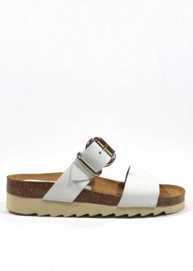 Sandalia descalza dos tiras con hebilla blanco. Trisoles