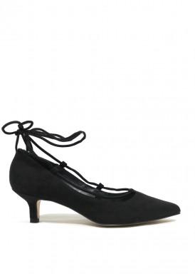 Zapato salón cintas bailarina negro. Angel Alarcón