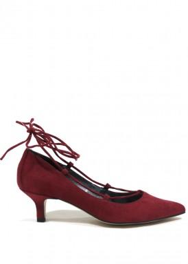 Zapato salón cintas bailarina burdeos. Angel Alarcón