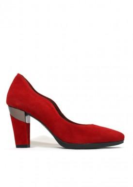 Zapato salón ante ondas rojo. Desireé