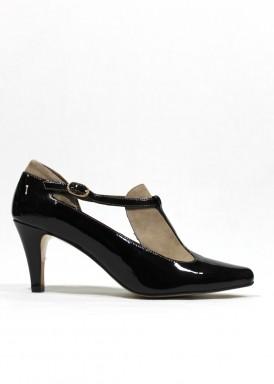 Zapato pulsera de vestir en charol y ante. Marrón y beis. Pasther