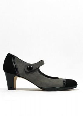 Zapato con pulsera de charol y ante, color  gris-negro-verde oscuro.  Tacón 5 cm . PASTHER