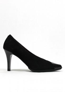 Zapato corte salón en mitad ante mitad charol. Negro. Pasther.