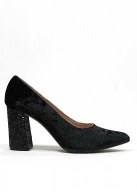 Zapato fiesta salón de terciopelo y tacón glitter. Negro. Ana Román