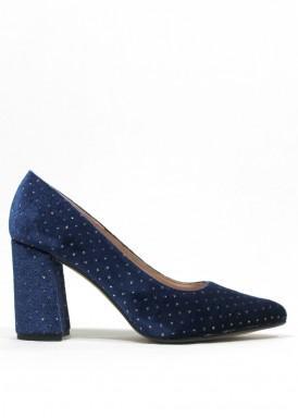 Zapato fiesta salón de terciopelo. Azul noche. Ana Román