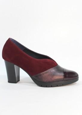 Zapato abotinado ante, charol y piel. Tacón 7 cm. PASTHER