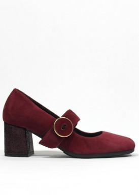 Zapato de vestir de pulsera. Tacón ancho 5 cm. Granate. PASTHER