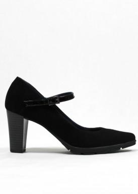 Zapato de vestir de ante con pulsera de charol. Negro. PASTHER