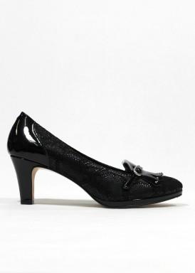 Zapato ancho especial de vestir, ante grabado y charol. Negro de PASTHER.