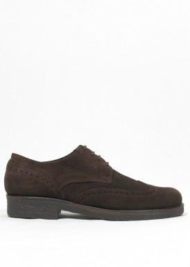 Zapato de vestir de serraje modelo oxford. Marrón. EXPLORER