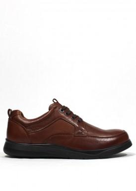 Zapato clásico  de cordón de goma invierno. Color cuero. BOLA 22