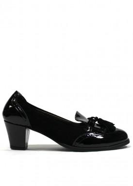 Zapato de vestir con fleco y borlas, ante y charol. Negro. ROLDÁN.
