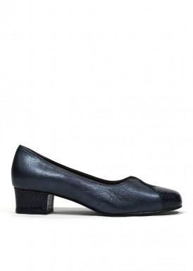 Zapato salon en V , charol, ante y piel. Tacón 3 cm. Azul marino. ROLDÁN.