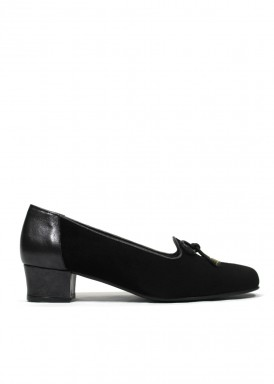 Zapato copete ante de ancho especial. Negro. ROLDÁN