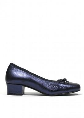 Zapato francesita con tacón bajo. Piel azul marino. Roldán