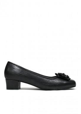 Zapato salón con adorno, piel negro. Roldán