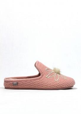 Zapatilla de casa abierta mujer rosa. Laro