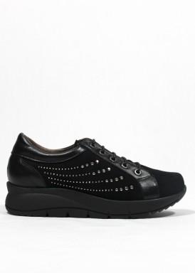 Zapato de cordón de piel y ante. Ancho especial. Negro. FAP