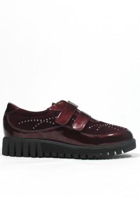 Zapato dos velcros de charol y ante. Ancho especial. Granate. FAP