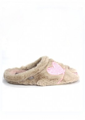 Zapatillas de casa mujer chinela, beis y rosa LOVE  cuña baja.