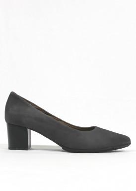 Zapato corte salón de ante, tacón 4,5 cm. Gris. FAP