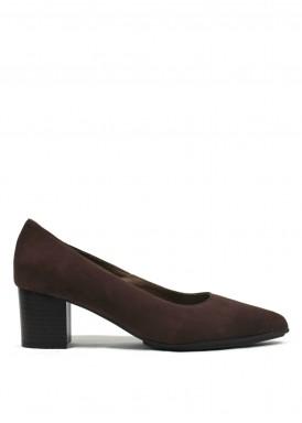 Zapato corte salón de ante, tacón 4,5 cm. Marrón. FAP