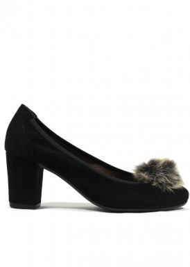 Zapato salón ante de ancho especial. Tacón 5 cm. Negro . Roldán
