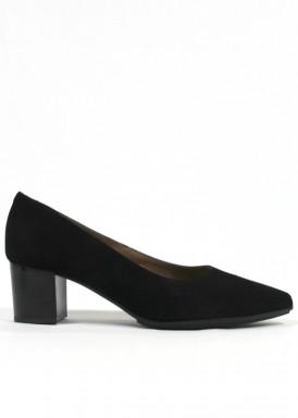 Zapato corte salón de ante, tacón 4,5 cm. Negro. FAP