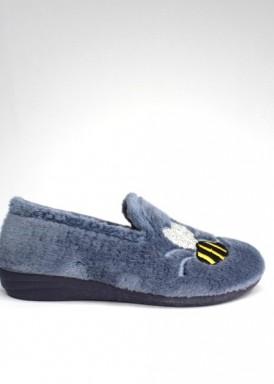 Zapatilla cerrada mujer, bordado abeja . Color jeans de Laro