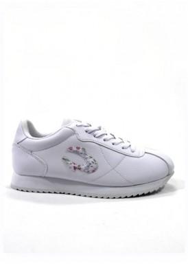 Zapatilla deportiva blanca para mujer, piso plano, herradura floral , de Jonh Smith