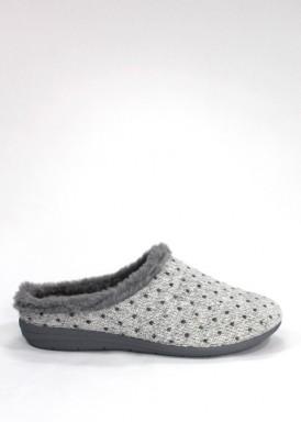 Zapatilla descalza mujer de punto con topitos color gris, con cuña de goma . Laro