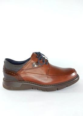 Zapato blucher piso ligero, talonera grabada, marrón claro de Fluchos