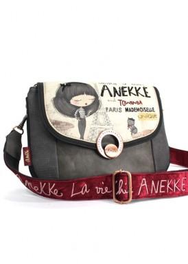 Bolso  Muñeca negro y beis de bandolera ancha de terciopelo de ANEKKE
